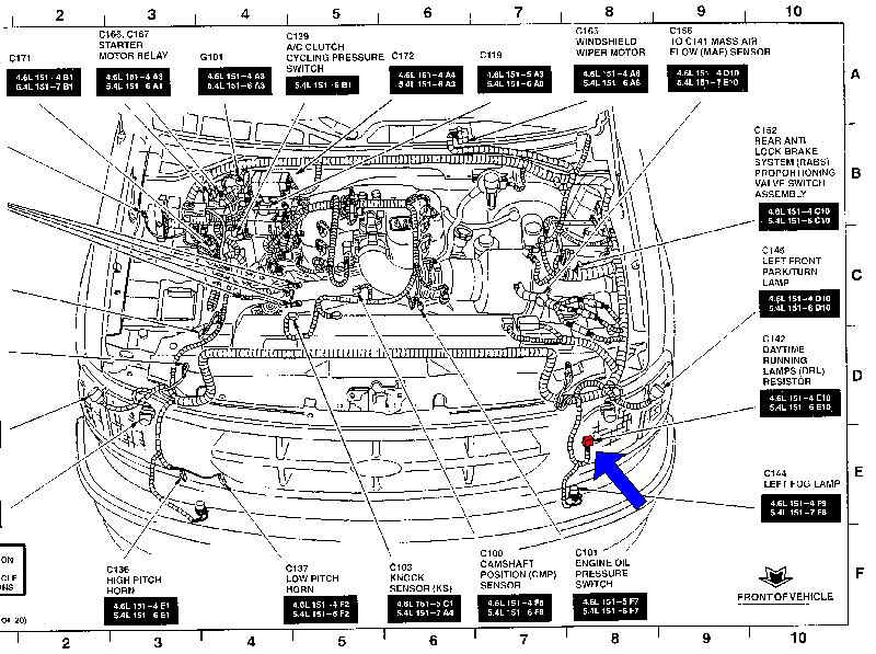 Where Is The Horn Located Inside My 1998 Ford Explorer on 2004 Ford Expedition Engine Diagram